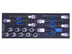 """Комплект насадок HEX, TORX и SPLINE в ложементе EVA , 1/2"""", 6-10 мм, T20-T60, 8 - 14, 17 пр KING TONY 9-4147PRV"""