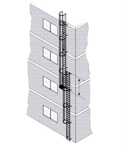 Наружная пожарная лестница Zarges Z600 нержавеющая сталь, 11,8м 58818 - фото 100846