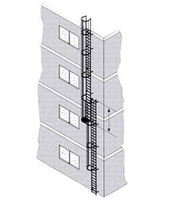 Наружная пожарная лестница Zarges Z600 нержавеющая сталь, 14,9м 58849 - фото 100849