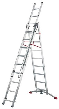 Алюминиевая трехсекционная лестница Hailo ProfiLOT 2х9+1x8 9309-507 - фото 101452