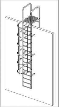 Наружная пожарная лестница Krause оцинкованная сталь, 12,60м 836120 - фото 11933