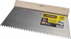Зубчатый  шпатель Stayer стальной 250мм 4х4 1025-4-25 - фото 81446