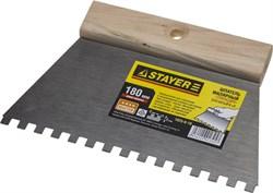 Зубчатый шпатель шпатель Stayer стальной 180мм 6х6 1025-6-18 - фото 81447