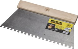 Зубчатый шпатель Stayer стальной 250мм 6х6 1025-6-25 - фото 81448