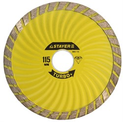 """Отрезной диск Stayer """"TURBO+"""" алмазный, сегментный 110мм 3663-110 - фото 83621"""