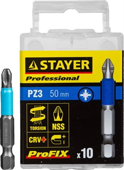 "Торсионные биты Stayer Stayer ""Professional-Profix"" PZ3 50мм 10шт 26223-3-50-10_z01 - фото 86225"