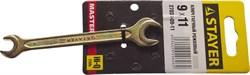 "Гаечный ключ Stayer ""Master"" рожковый, 9х11мм 27038-09-11 - фото 86862"