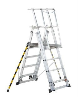Телескопическая лестница-платформа Zarges, 7 ступеней 41326 - фото 98875