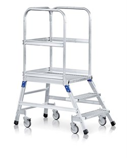Передвижная лестница с платформой Zarges Z600 односторонняя, 6 ступеней 41954 - фото 99728