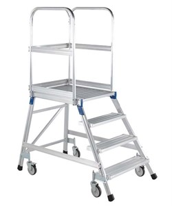 Передвижная лестница с платформой Zarges Z600 односторонняя, 3 ступени 41971 - фото 99749