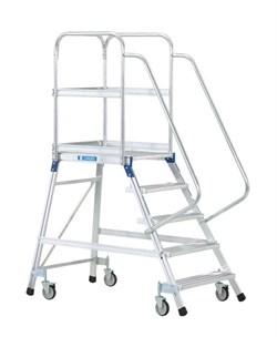 Передвижная лестница с платформой Zarges Z600 односторонняя, 5 ступеней 41973 - фото 99753