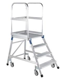 Передвижная лестница с платформой Zarges Z600 односторонняя, 6 ступеней 41974 - фото 99755