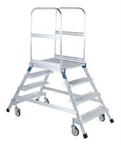 Передвижная лестница с платформой Zarges Z600 двухсторонняя, 6 ступеней 41984 - фото 99770