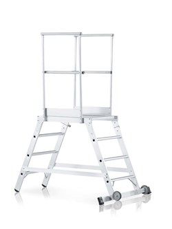 Передвижная лестница с платформой Zarges Z600 двухсторонняя, 3 ступени 40073 - фото 99785