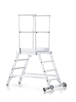 Передвижная лестница с платформой Zarges Z600 двухсторонняя, 5 ступеней 40075 - фото 99787