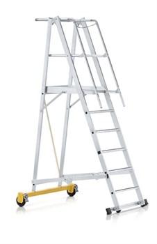 Передвижная лестница с платформой Zarges Z600 односторонняя, 8 ступеней 41205 - фото 99795