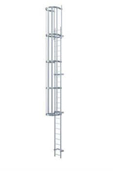 Наружная пожарная лестница Zarges Z600 оцинкованная сталь, 7,4м 58374 - фото 99931