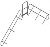 Поручень и перила площадки Zarges Z600, 10 ступеней, съемные 42359970