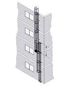 Наружная пожарная лестница Zarges Z600 оцинкованная сталь, 11,8м 58718