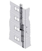 Наружная пожарная лестница Zarges Z600 нержавеющая сталь, 12,6м 58826