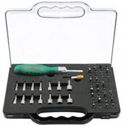 Трещоточная отверточная рукоятка Jonnesway с набором бит и насадок 52 предмета DR0152S