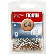 Медные потайные заклепки Novus тип C4х12 20 шт