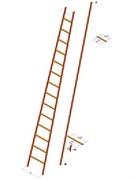 Диэлектрическая приставная лестница ЗЭП 14 ступеней ЛСПСО-4,9-55 М