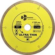 Сплошной алмазный отрезной диск Ультратонкий 200x25,4 мм Trio-Diamond UTW505