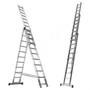 Алюминиевая трехсекционная лестница Алюмет 3х6 5306