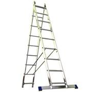 Алюминиевая двухсекционная шарнирная лестница Алюмет 2x10 Т210