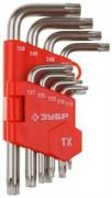 Набор коротких имбусовых ключей Зубр Мастер TORX Т10-Т50, 9 ед. 27462-1_z02