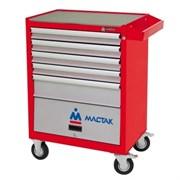Инструментальная тележка MACTAK Оптима, 5 полок и отсек, красная 522-05581MR