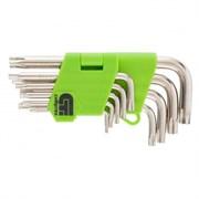 Набор коротких имбусовых ключей Сибртех Tamper-Torx ТT10-ТT50, 9 шт 12321