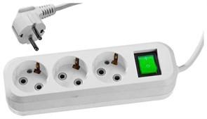 Бытовой удлинитель с заземлением и выключателем Сибин ПВС 3 розетки, 3м 55036-3