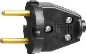 Разборная электрическая вилка Сибин 6А/220В, черная 55152-B
