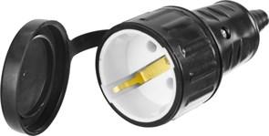 Ударопрочная электрическая розетка Сибин с заземлением, 16А/220В, черная 55186-B