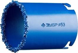 Кольцевая коронка Зубр Профессионал c карбид-вольфрамовым нанесением 53мм 33350-53_z01