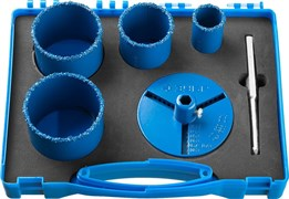 Набор кольцевых коронок Зубр Профессионал c карбид-вольфрамовым нанесением 33-73мм 33350-H6_z01
