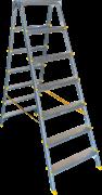 Двухсторонняя анодированная стремянка Алюмет 7 ступеней APD9207