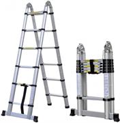 Двухсторонняя телескопическая лестница с шарниром Алюмет 6+6 ступеней DTLH1.9