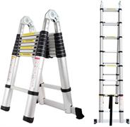 Двухсторонняя телескопическая лестница с шарниром Алюмет 8+8 ступеней DTLH2.5