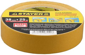 Двусторонняя лента Stayer Profi на тканевой основе, 38мм, 25м 1217-38-25