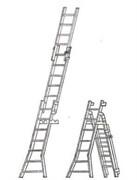 Алюминиевая трехсекционная лестница ЛСУ 7 ступеней