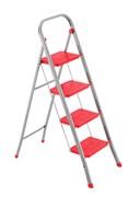 Стальная стремянка Framar Slimmy, 4 широкие ступени, цвет красный